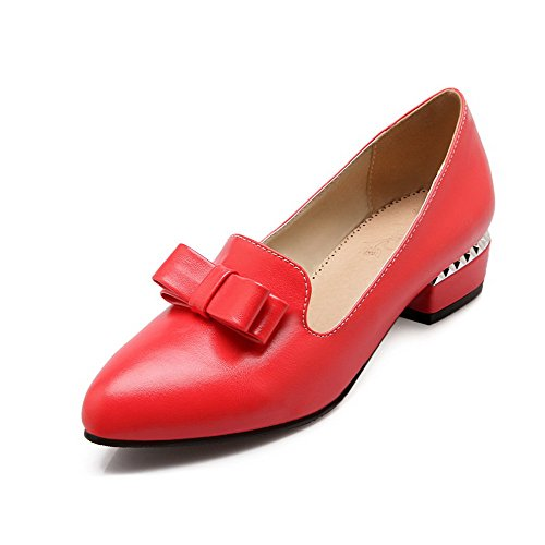 Pumps On Shoes VogueZone009 Pull Solid Toe Pointed Soft Women's Closed Red Heels Material Low 1T1zP6F