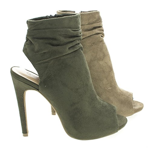 Peep Toe Mule Ankle Slouchy Stiletto Heel Booties
