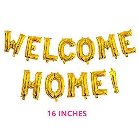 """Welcome Home Balloon Banner 40"""" Hand Writing Style Balloons Foil Letter Balloon Anniversary Celebration Party Decorations, Gold"""