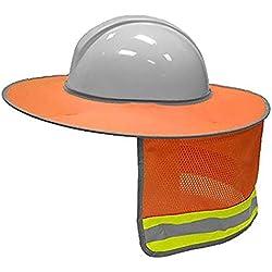 LBAFS Casco De Seguridad De Construcción Casco De Protección contra El Cuello Casco De Protección Solar Kit De Raya Reflectante,Orange