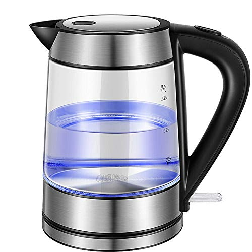 LQ&XL 1800W LED Glass Electric Kettle,1.7L Eco Water Kettle with Auto Shut-Off & Boil-Dry Protection,BPA-Free Cordless Hot Water Boiler, Quiet Fast Boil, [Energy Class A+++]
