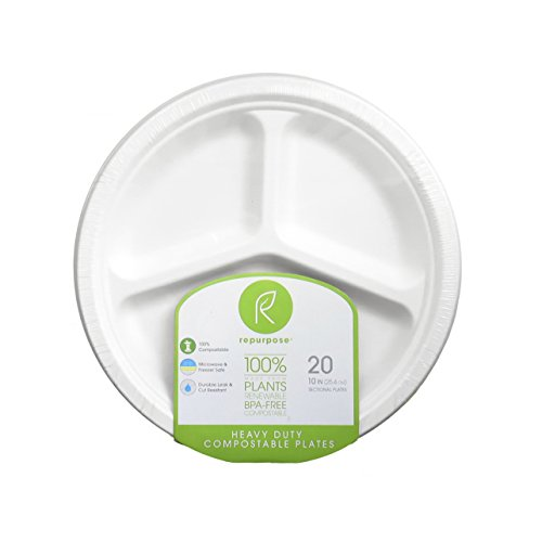 - Repurpose 100% Compostable Plant-Based Sectional Bagasse Plates, 10 Inch, 20 Count (Pack - 3)