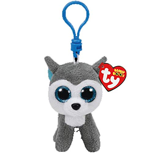 Big Eyes Plush Keychain Toy Doll Fox Owl Dog Unicorn Penguin Giraffe Leopard Monkey Dragon with Tag 4[ 10cm] (Husky) ()