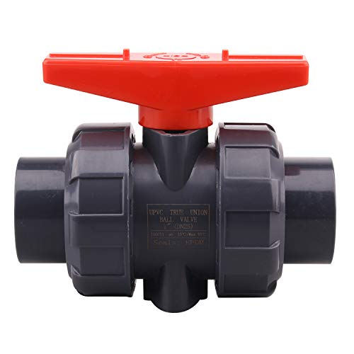 DERNORD PVC True Union Ball Valve with Full Port, EPDM O-Rings, and Reversible PTFE Seats,Rated at 200 PSI (1 inch Socket)