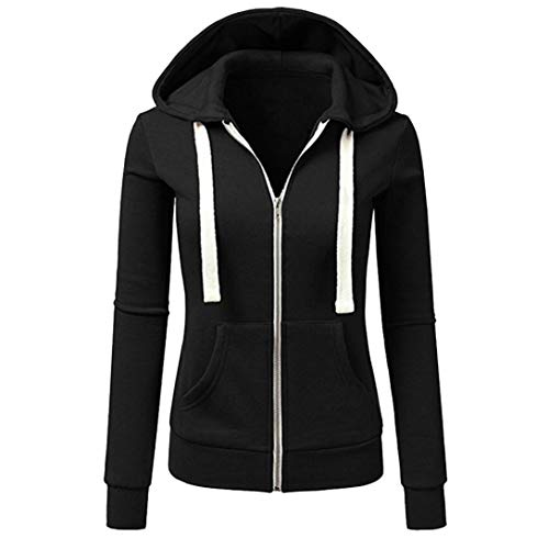 iYYVV Women Long Sleeve Patchwork Solid Color Pocket Hooded Zipper Casual Sport Coat - Patchwork Duster