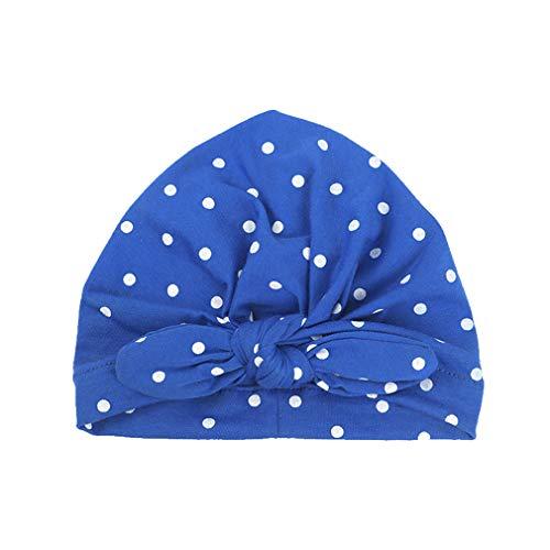 Elastic Infant Toddler Kids Hat Spring Cotton Girls Hat Sweet Dot Royal Blue