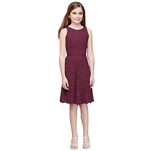 David's Bridal Short Sleeveless Lace Girls Dress Style JB9596, Wine, 18 by David's Bridal