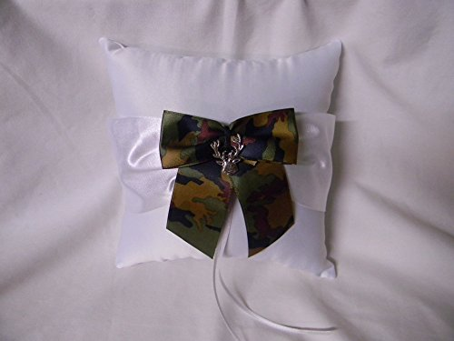 Wedding ceremony party Camo Redneck Deer Hunter Hunting Ring bearer Pillow by Custom Design Wedding Supplies by Suzanne