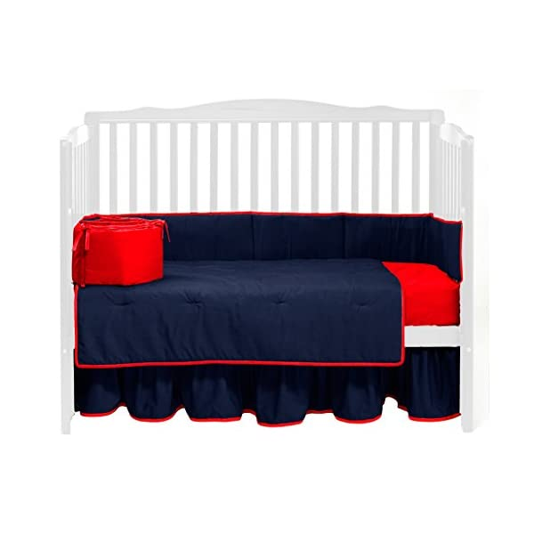 Baby Doll Bedding Solid Reversible Crib Bedding Set, Navy/Red