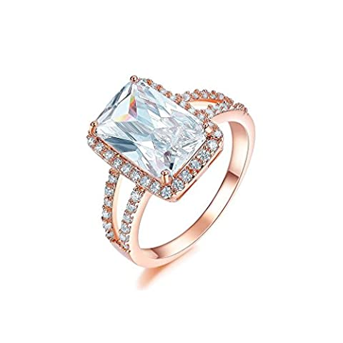 Bella Lotus 4.5ct Radiant Cut CZ 18k Gold Plated Vintage Engagement Rings, Size 8 (Cubic Zirconia Gold Rings)