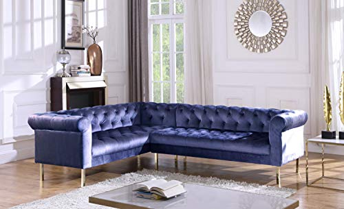 (Iconic Home FSA9211-AN Giovanni Left Facing Sectional Sofa L Shape Velvet Upholstered Button Tufted Roll Arm Design Solid Gold Tone Metal Legs Modern Transitional Navy)