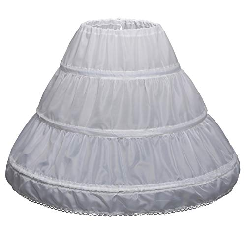 Girls' 1 2 3 Hoops Petticoat Full Slips Flower Girls Crinoline Skirts Ball Gowns 1-12 Year Old White 6-7 yrs