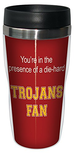 Tree-Free Greetings sg24592 Trojans College Football Fan Sip 'N Go Stainless Steel Lined Travel Tumbler, 16-Ounce ()