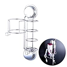 Ecoart Hair Dryer and Straightener Holder with Hooks, Suction Cups or Screws for Wall Mount, Stainless Steel