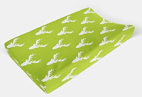 Changing Pad Cover in Lime Green Deer- Bright Woodland - by Twig + Bird - Handmade in America by Twig + Bird