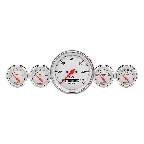 Auto Meter 1340 Arctic White Fuel/Oil/Speedo/Volt/Water 5 Gauge Set (Chrysler Oil Pressure Switch Socket)