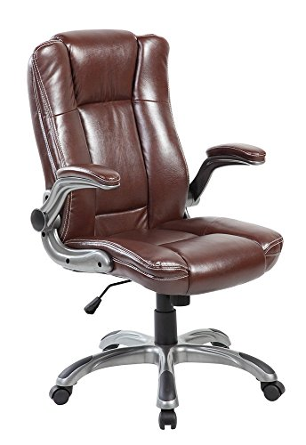 Modern High Back Leather Executive Swivel Reclining Computer Office Chair with Flip-Up Arms, Brown - Modern Executive Desks