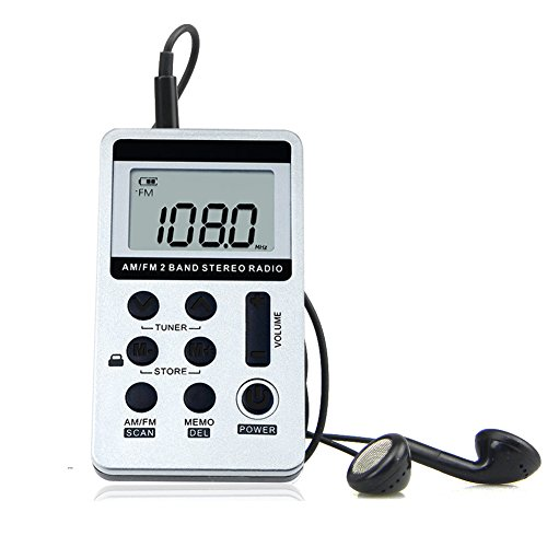 Earphones Stereo Digital (AM FM Pocket Radio Mini Portable Digital Tuning AM/FM Stereo Radio Receiver with Rechargeable Battery and Earphone-Silver)