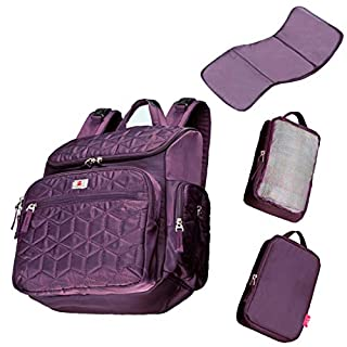 Diaper Bag Backpack, Large Capacity Baby Changing Bags, Waterproof Baby Diaper Bag, Nappy bag For Mom And Dad Purple