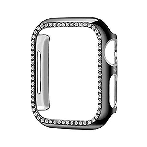 QUICATCH Compatible with Apple Watch Series 4 40mm TPU Protective Case Cover with Luxury Diamond Crystal Rhinestone Shiny Shockproof Scratchproof (Black)