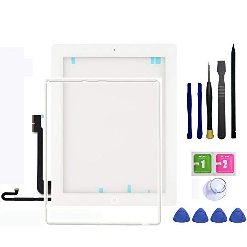 IPad 4 Screen Replacement, FeiyueTech New Touch Digitizer Replacement Assembly Includes Home Buttom + Camera Holder + Frame Bezel + Preinstalled Adhesive + Premium Repair Toolkit (White) by FeiyueTech