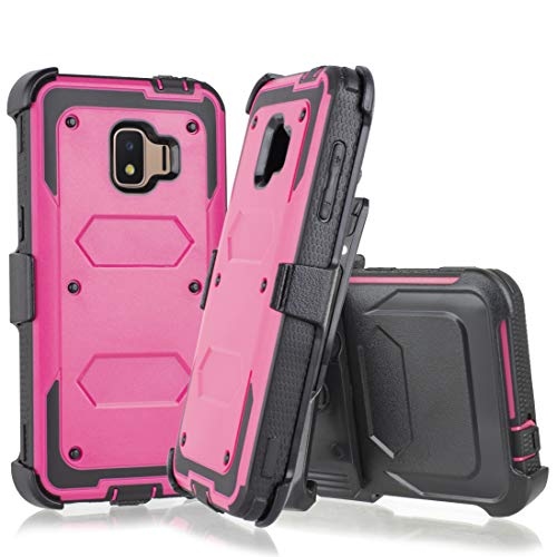 re (SM-J260)/ J2 Dash/ J2 Pure 2018 Full Body Armor Rugged Holster Defender Heavy Duty Hybrid Case with 360 Swivel Belt Clip Kickstand & Built in Screen Protector (Pink) ()