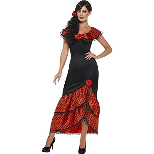 Childs Flamenco Dress (Smiffy's Women's Flamenco Senorita Costume, Dress and Headpiece, Around the World, Serious Fun, Size 6-8, 45514)