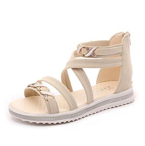 sandalias de punta abierta correas cruzadas mujeres planas de los zapatos con los zapatos planos de estudiantes salvaje beige
