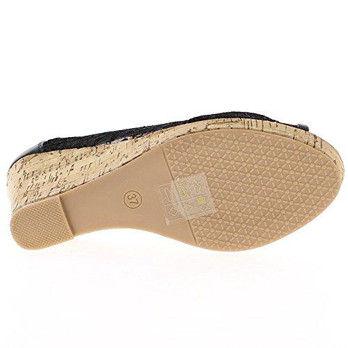 Scarpe donna compensata tacco di 10cm di pizzo nero aperto