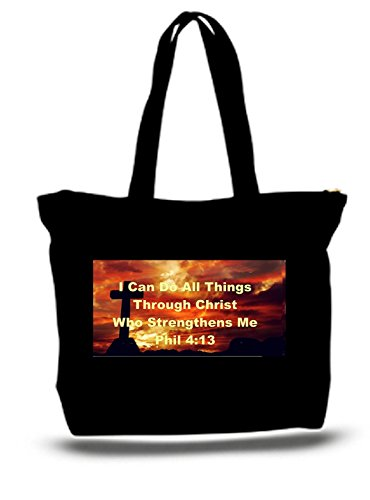 Religious Canvas Tote Bags (XXL 23 x 17 x 5 Canvas Cotton Tote Bag Religious I Can Do All Things Through Christ)