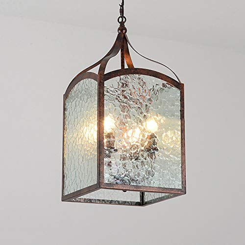 Wrought Iron Pendant Island (American Country Loft Chandelier Personality Creative Glass Square Ceiling Pendant Lights Wrought Iron Vintage Art Restaurant Suspension Light Barn Garage Cafe Retro Nostalgic Drop Light with E14)