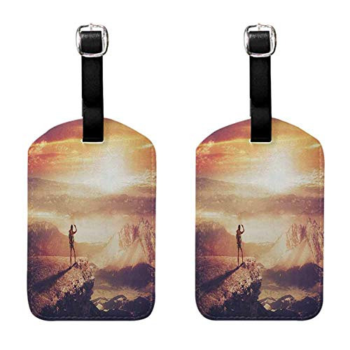 Adventure Luggage tag (Pack of 2) Fashion match Traveler Woman with Backpack on Mountain Surveying Sunset Adventure Photo Print Multicolor