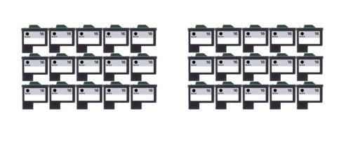 30/Pack 16 Black ink cartridges for Lexmark Compatible with: Color Jet Printer Z34 Z35 Z515 Z2600 Color Jet Printer i3 Z13 Z23 Z24 Z25 Printrio X1155 X1160 X1170 X1180 X1190 (Z13 Printer Jet)