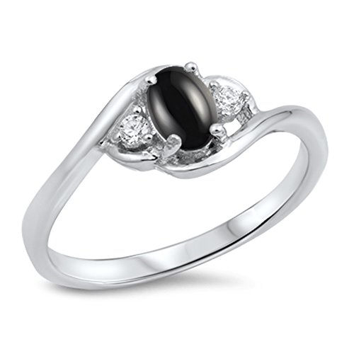 - 925 Sterling Silver Cabochon Natural Genuine Black Onyx Oval Cluster Ring Size 6