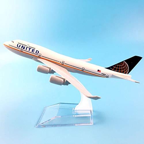 Greensun Kids Toys 16cm Alloy Metal American Air United Airlines Boeing 747 B747 400 Airways Plane Model Aircraft Airplane Model w Stand (Airlines 747 United Boeing)