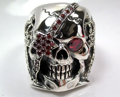 Men's Sterling Silver Red Garnet Skull Ring - DeluxeAdultCostumes.com