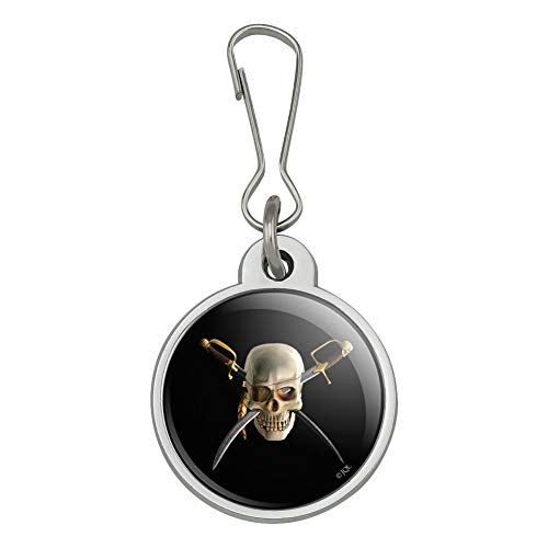 Pirate Skull Crossed Swords Patch Jacket Handbag Purse Luggage Backpack Zipper Pull Charm