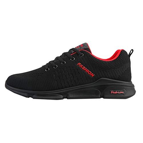 Braloneesc Men's Sneaker Slip On Sport Sneakers Outdoor Lightweight Running Shoes Leisure Breathable Fitness Mesh Loafers Red -