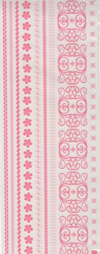Rosey Pink Borders Rub-ons for Scrapbooking (21804)