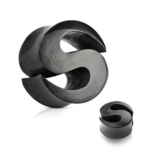 Inspiration Dezigns Pair Ear Gauge Plugs Tunnels Letter S Carved Organic Black Horn (0G (8mm))