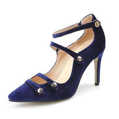 LvYuan Mujer Sandalias Confort Cuero real Ante Primavera Casual Confort Negro Azul Real Borgoña Plano Royal Blue