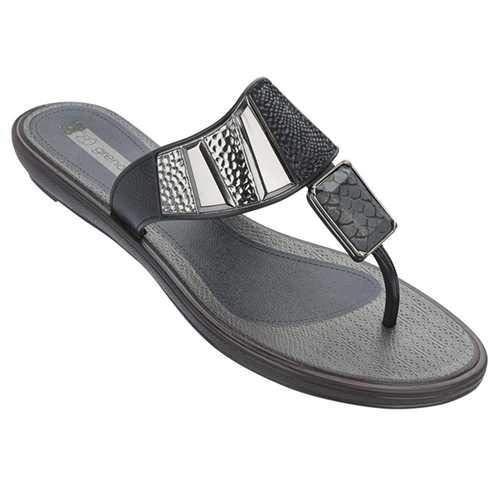 (Grendha Women's Python Thong Sandal-Black-Size 8)