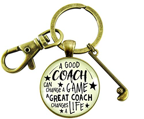 Golf Team Coaching Keychain A Great Coach Changes A Life Quote Thank You Club Charm Appreciation Gifts For Men Women