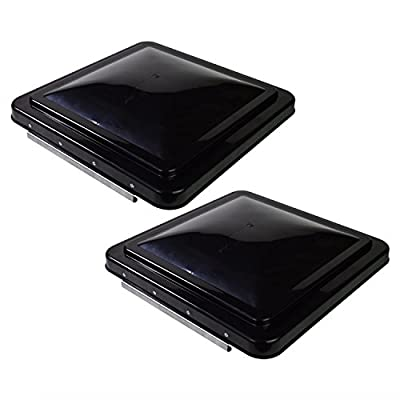 Leisure 2 Packs 14 Inch RV Roof Vent Cover Universal Replacement Vent Lid Black for Camper Trailer Motorhome