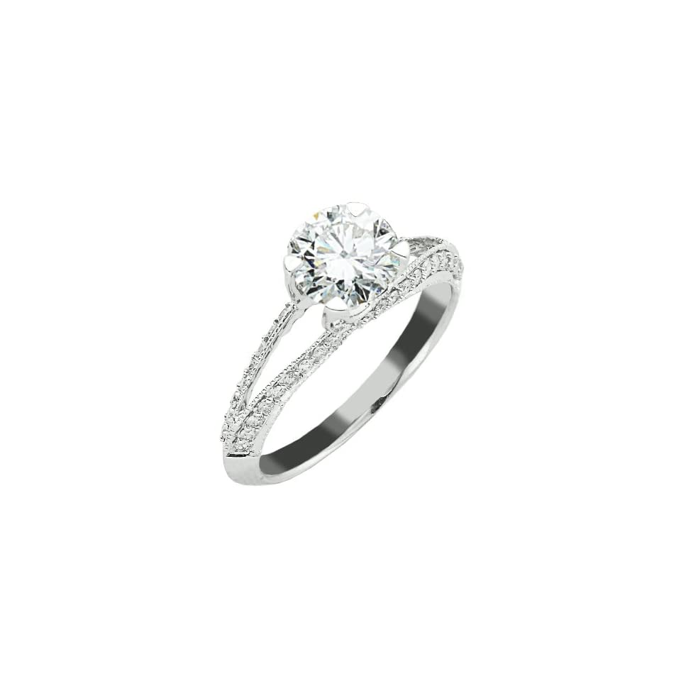 Split Shank Pave Set Diamond Engagement Ring in White / Yellow Gold With An Amazing Side View with a 0.85 Carat H J SI1 SI2 Clarity Center Stone and 0.45 Carats of Side Diamonds (1.3 Cttw)