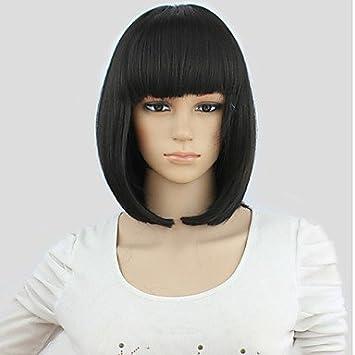Ryu @ pelo bob moda estilo lady gaga Flecos Negro Biselado peluca corta cosplay anime del Partito + tapón peluca gratis negro: Amazon.es: Belleza