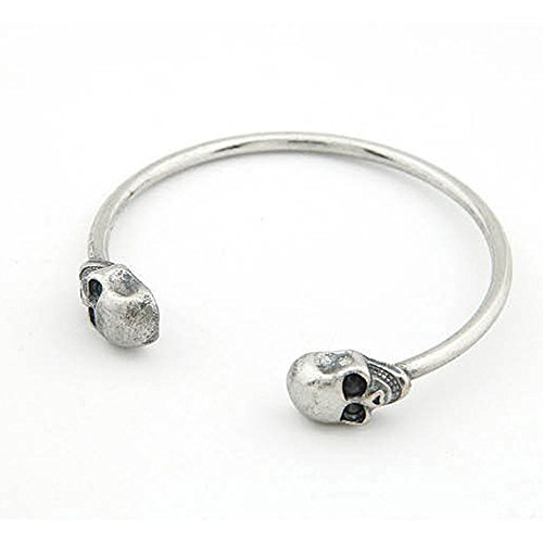 Phonphisai shop Retro Jewelry Popular Gothic Rock Cool Cuff Skeleton Skull Bangle Bracelet Color Silver