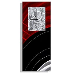 Modern Hanging Decorative Wall Clock, Abstract Black and Red Metal Wall Art Decor by Jon Allen, Power On, 24-inch