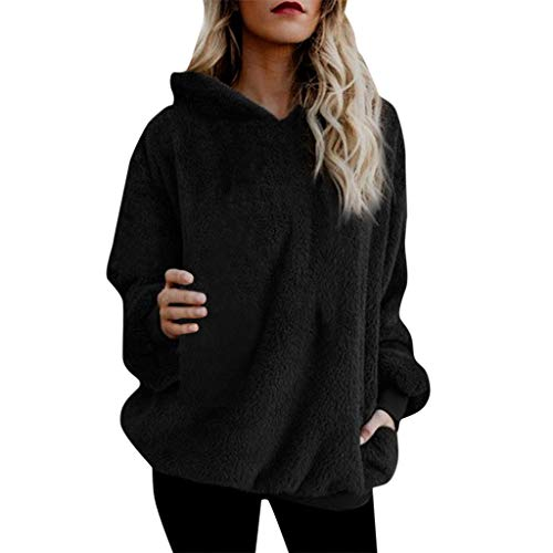 Womens Chic Oversized Hoodies Winter Warm Fuzzy Hooded Jackets Coats Casual Loose Pullover Hooded Sweatshirt Outwear (Black, XXXXL)