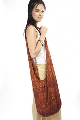 Cotton Crossbody Women's Buddhist Lofbaz 2 Bag Elephant Boho Brown Monk 6UPq7xt